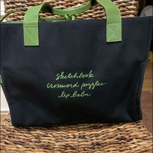 Kate Spade black with green trim tote